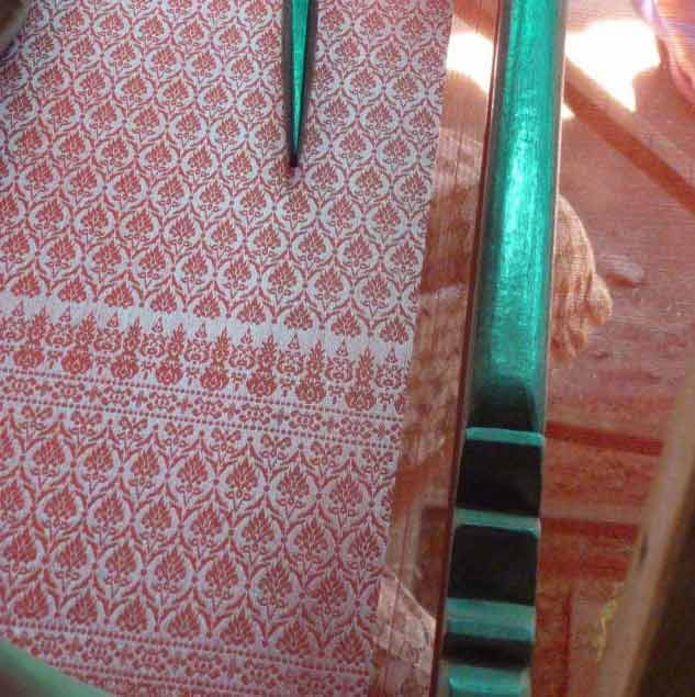 Intricate silk textile hand-woven by artisan weavers from Cambodia © Ingrid Colonna