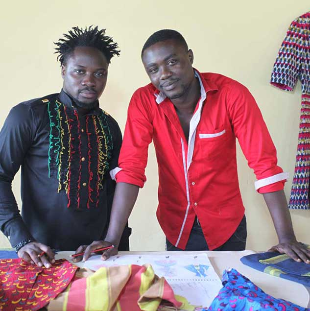 Kofi Gyedu & Leslie Wiredu working on their collections in Ghana © ITC Ethical Fashion Initiative