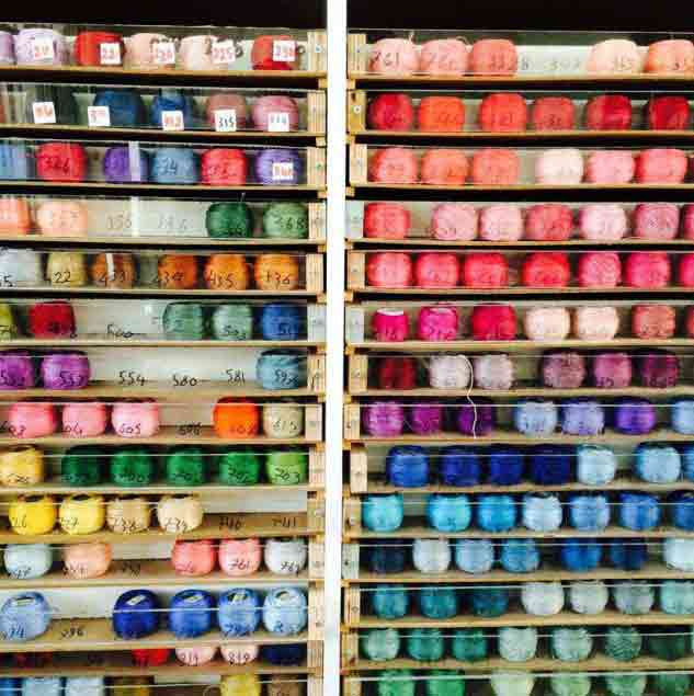 A rainbow of cotton threads, waiting to be selected for the next embroidery project © Chloe Mukai