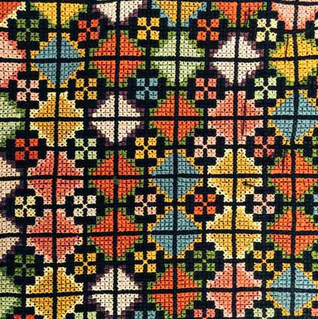 Cross-stitch embroidery, handmade in Palestine © Chloe Mukai