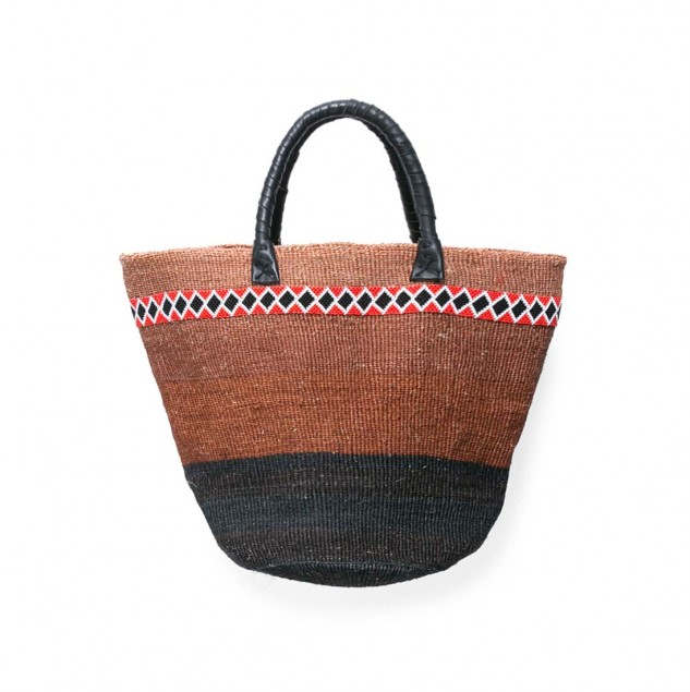 UNITED ARROWS TEGE Beaded Raffia Basket with leather handle made in Kenya (c) United Arrows