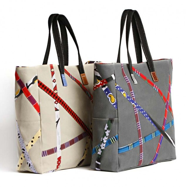 Carmina Campus Made in Africa bags. The design uses kanga fabric off-cuts. © Carmina Campus