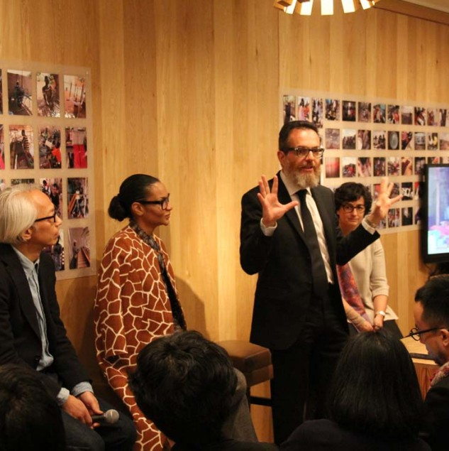 Simone Cipriani speaking at an ethical fashion discussion organised with United Arrows at Marunouchi house in Tokyo in December 2015 © United Arrows
