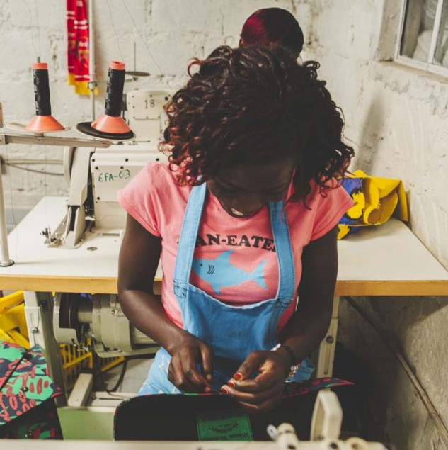 Artisan in Kenya stitching a Vivienne Westwood Climate Revolution clutch bag © Louis Nderi & ITC Ethical Fashion Initiative