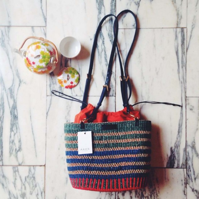 A finished AAKS bag, designed by Akosua Afriyie-Kumi and handmade in Ghana © AAKS