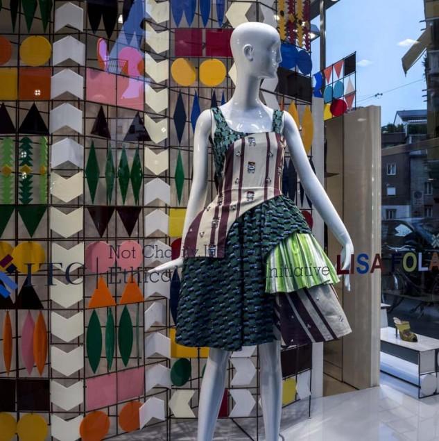 Lisa Folawiyo window display at Biffi Boutiques during Milan Fashion Week © Solange Souza