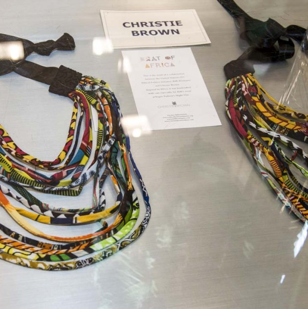 Christie brown fabric necklaces at Biffi Boutiques x Ethical Fashion Night Vogue Fashion's Night Out event © Solange Souza