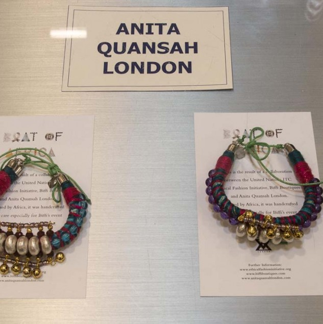 The Anita Quansah bracelet handmade especially for the Biffi Boutique x Ethical Fashion Initiative celebration of Vogue Fashion's Night Out © Solange Souza