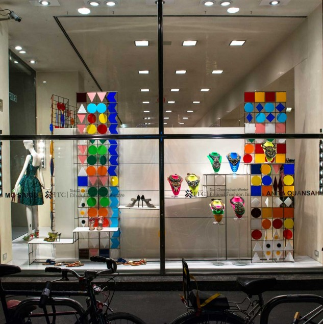 The Anita Quansah & MO SAIQUE window display at Biffi Boutiques in Milan for Vogue Fashion's Night Out. © Solange Souza