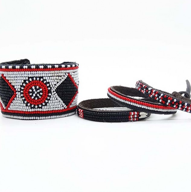 Chan Luu x Barney's special collection wrap bracelets, handmade by local artisans in Kenya. © Barneys