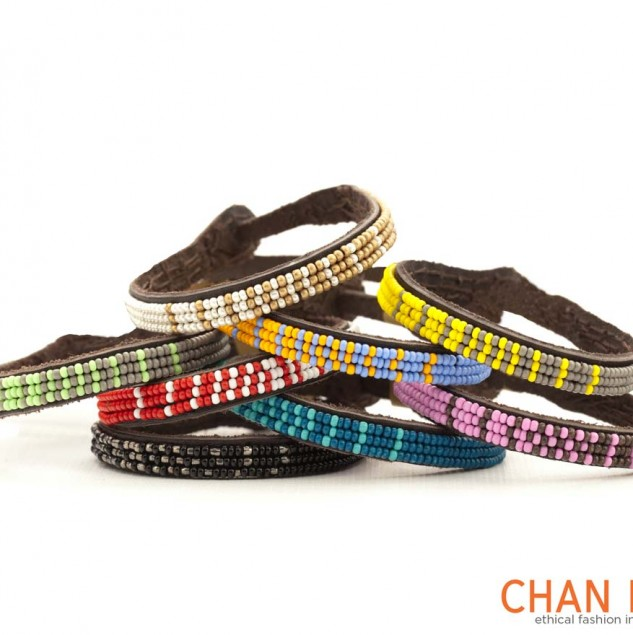 Stunning and vibrant Chan Luu signature wrap bracelets are made in Kenya providing dignified work to artisans. © Chan Luu