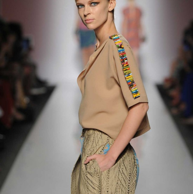 Christie Brown Spring/Summer 2014 look at the Altaroma x Ethical Fashion Initiative show in Rome © Altaroma.