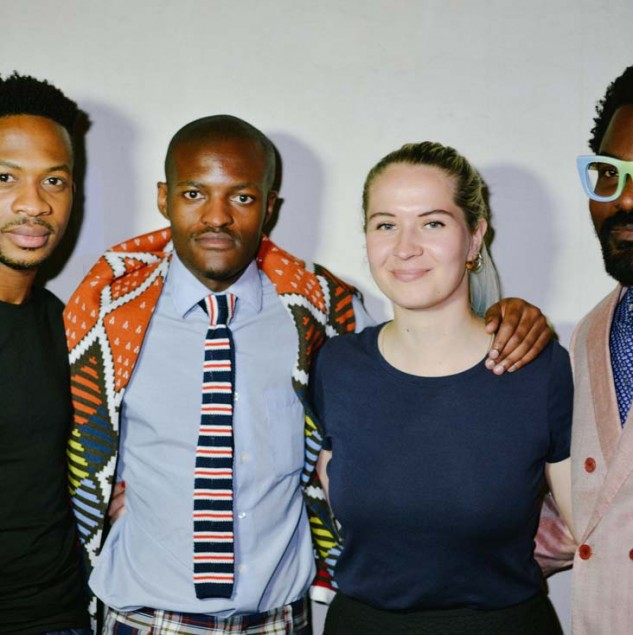 The Constellation Africa designers, Adebayo Oke-Lawal, Ladumo Ngxokolo, Johanne Dindler & Tekasala Ma'at Nzinga, backstage after their Pitti Uomo 88 show © Pitti Immagine & Vanni Bassetti