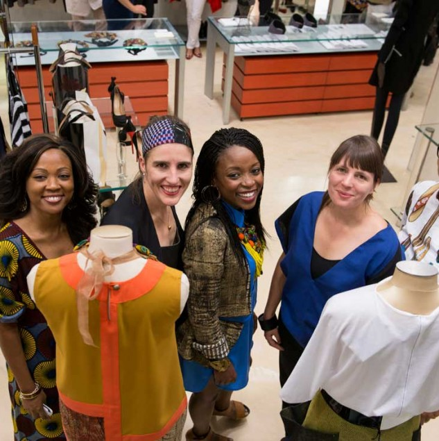 Titi Ademola, Sabine Portenier, Aisha Obuobi and Evelyn Roth at Biffi Boutiques for Vogue Fashion's Night Out in September 2013 © Solange-Souza