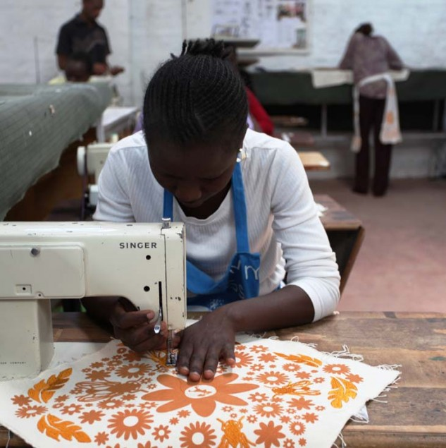 Artisan stitching one of the Myer Hands that Shape Humanity tote bags in Kenya © ITC Ethical Fashion Initiative
