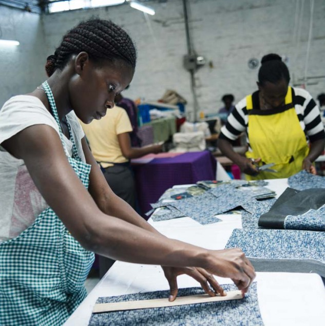 Production for the Marni collection in Kenya puts smiles on the faces of many involved in the Initiative as it enables women to gain respect and confidence through skills training and dignified employment. © Tahir Carl Karmali