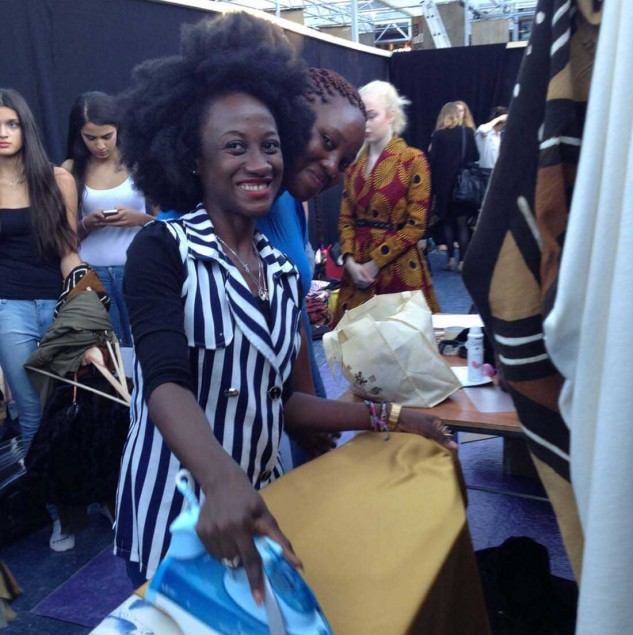 Netty Anang of Ameyo backstage at Dutch Design Week in Holland preparing for the Ameyo fashion show © Ameyo