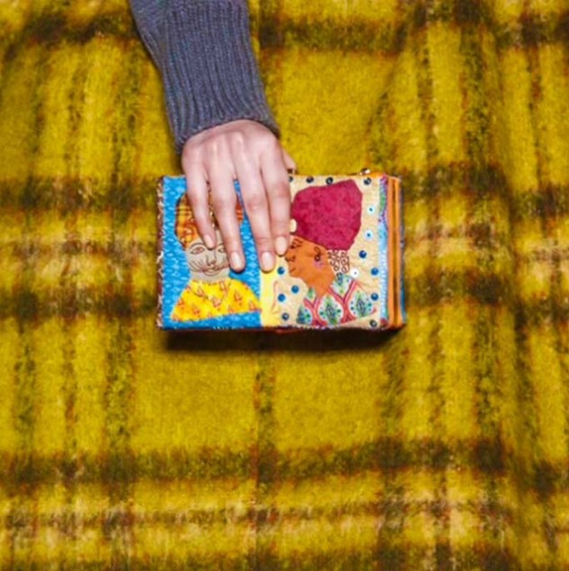 Stella Jean clutch made with a patchwork illustration sewn by Haitian artisans © NowFashion