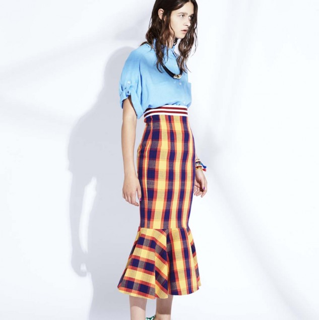 Stella Jean Spring/Summer 2015 look. The skirt is made with tartan fabric handwoven by artisans in Burkina Faso. Beyonce was spotted wearing this skirt. © Stella Jean