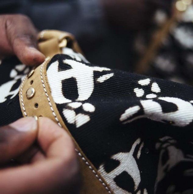 Vivienne Westwood bag produced by artisans in Kenya and made with bespoke Bogolan fabric made by artisans in Mali © ITC Ethical Fashion Initiative