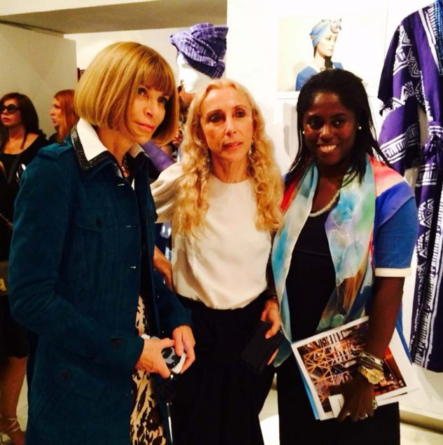 Abrima Erwiah with Anna Wintour and Franca Sozzani at Vogue Talents during Milan fashion week © Studio 189