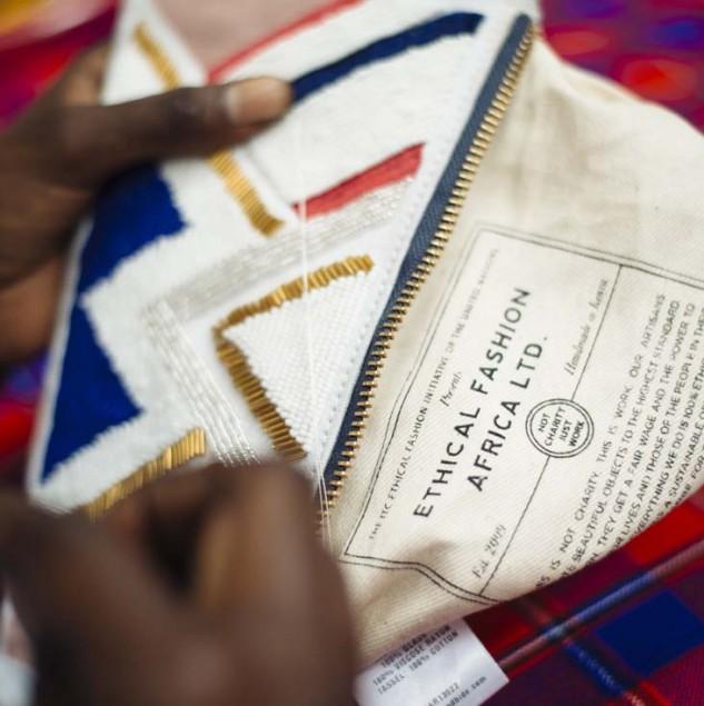 Kenyan artisan sewing the sass & bide Made in Africa collection. © Tahir Carl Karmali