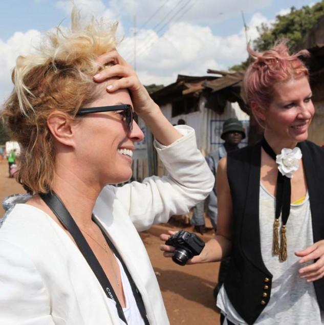 Sarah-Jane Clarke and Heidi Middleton of sass & bide exploring Kibera, Nairobi one of the largest slums of Africa. © ITC Ethical Fashion Initiative