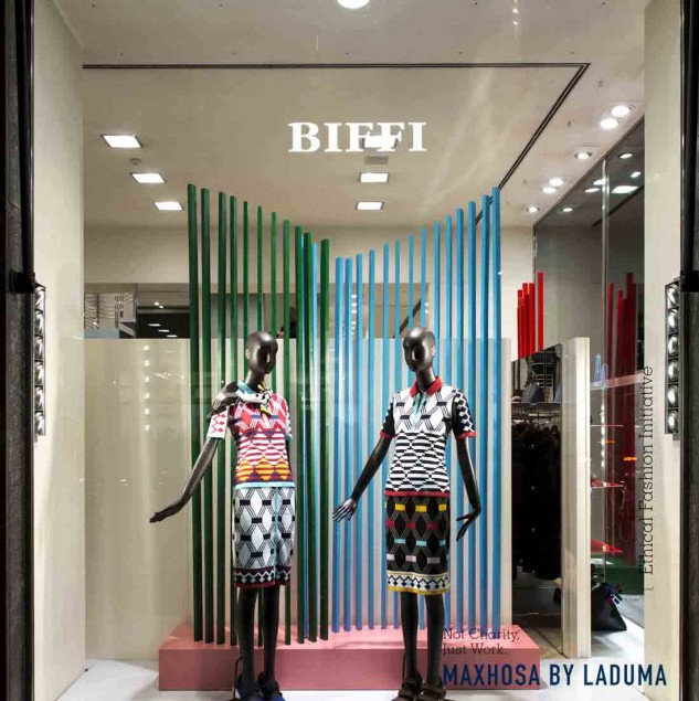 The MaXhosa by Laduma women's wear Biffi Boutique window (c) Solange Souza