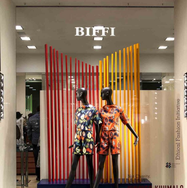 Sindiso Khumalo's window at Biffi Boutiques during Milano fashion week (c) Solange Souza