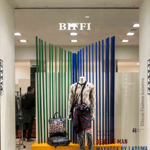 MaXhosa by Laduma & Dent de Man Spring/Summer 2016 window at Biffi Boutique in Milan (c) Solange Souza