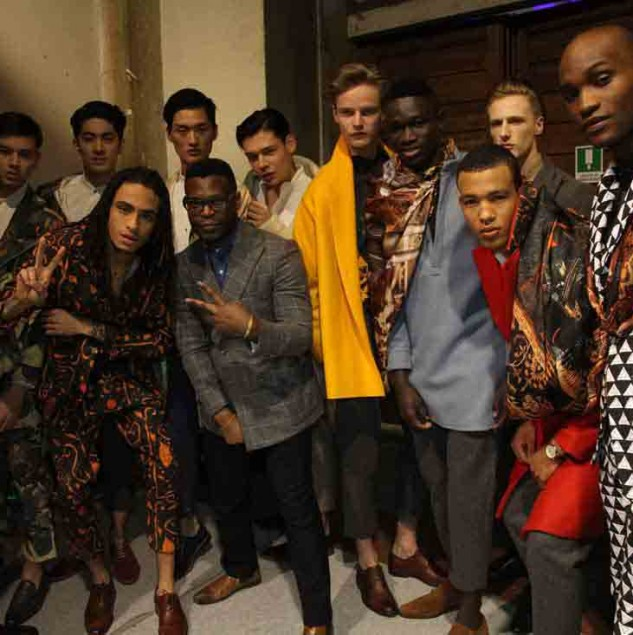 Walé Oyéjidé and his Ikiré Jones Autumn/Winter 2016 collection backstage at Generation Africa © Trevor Stuurman